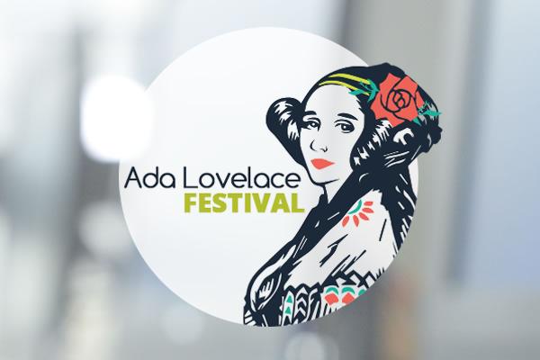 Logo des Festivals mit  Portrait von Ada Lovelace